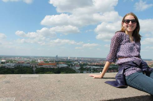 Here you are at the top of the Völkerschlachtdenkmal (you'll learn how to pronounce that word) in Leipzig.