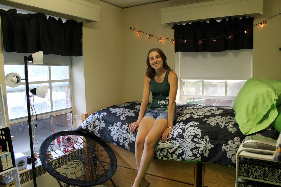 Get used to this cozy little closet of a dorm room, because you'll be squished into a much-less-cozy shoebox of a dorm room sophomore year.