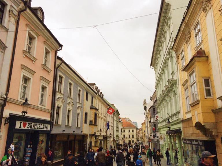 Perfect pastel buildings in Bratislava's city center.