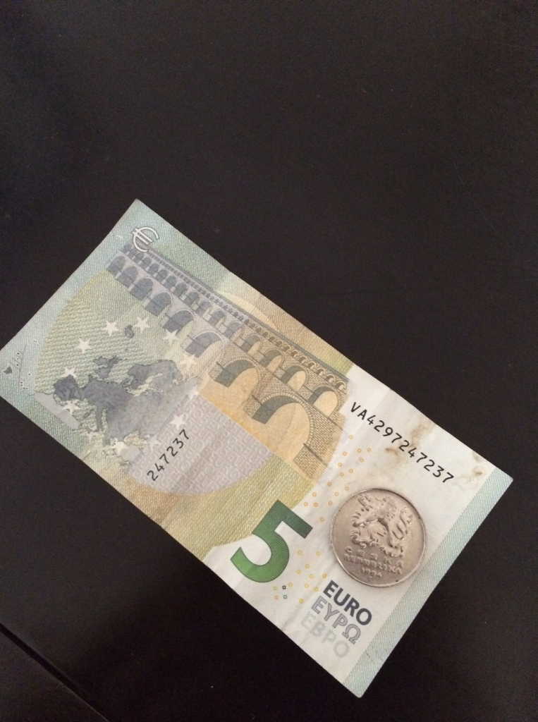 5 euros ($5.70) compared to 5 Czech koruna that I forgot to exchange while turning my money back into Euros. No great loss: worth about 20 cents.