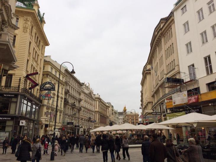 Cute European cafes in the pedestrian-only city center of Vienna.