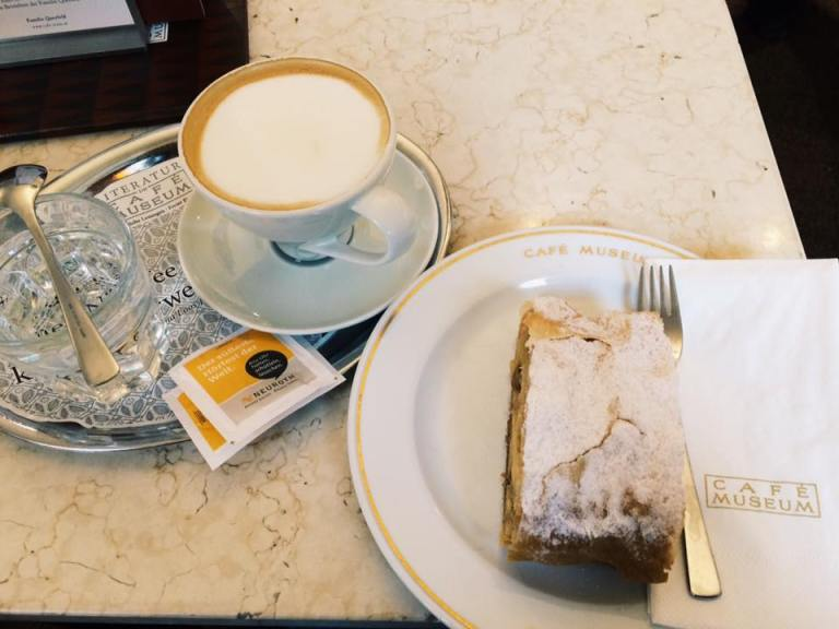 One of my biggest splurges came in Vienna in the form of the best apple strudel in town with a melange coffee on the side. About $10, which I guess is not much more than a coffee and pastry at Starbucks - and this is much better quality.