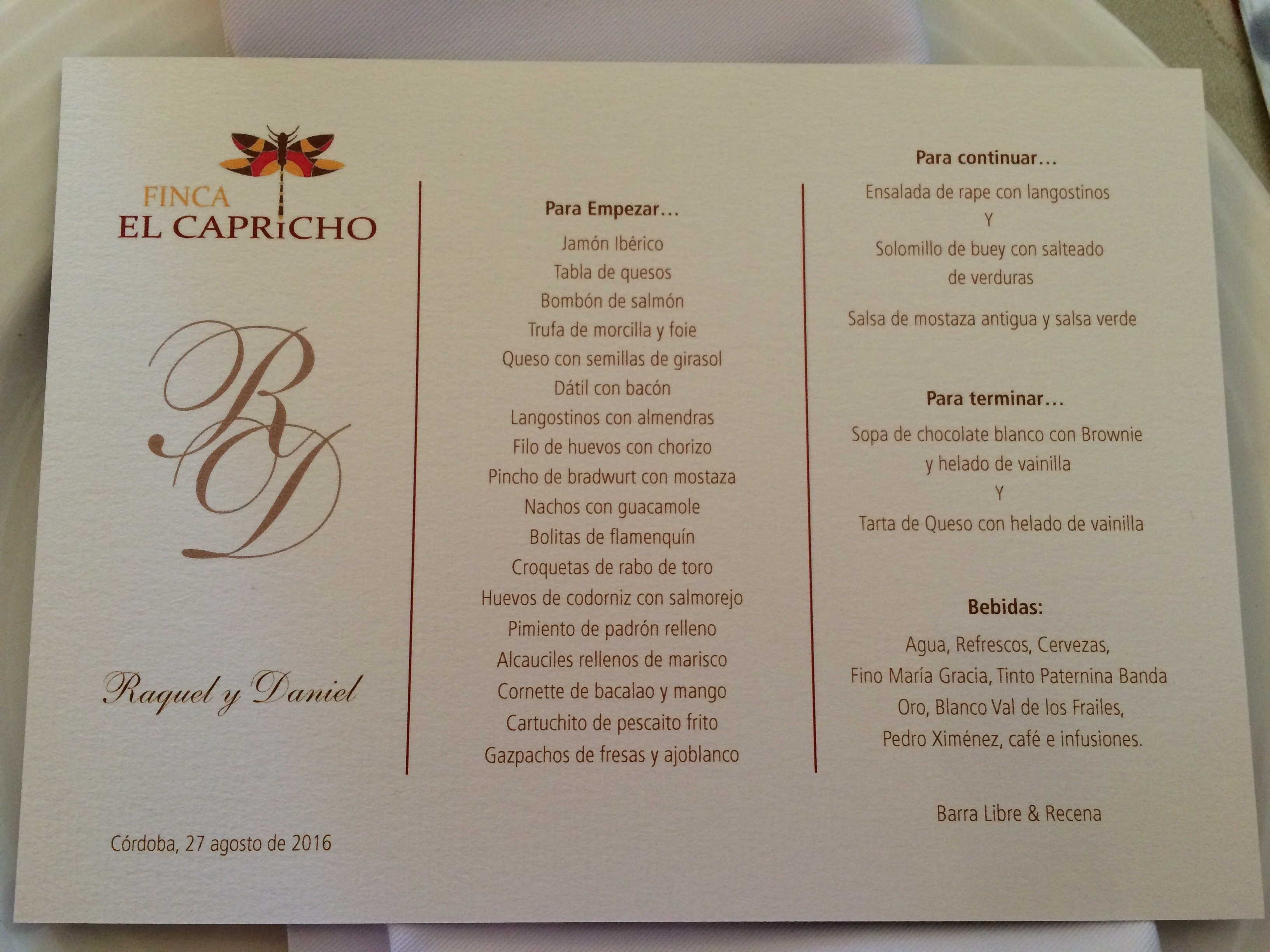 menu at a wedding in Spain