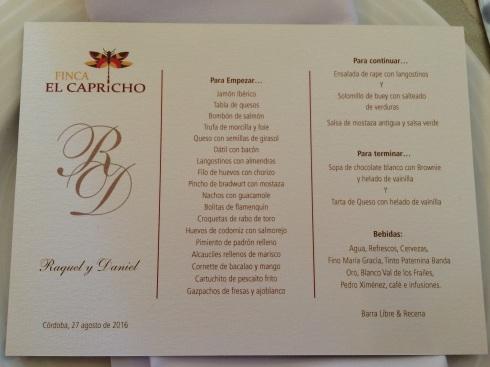 menu at a wedding in Spain