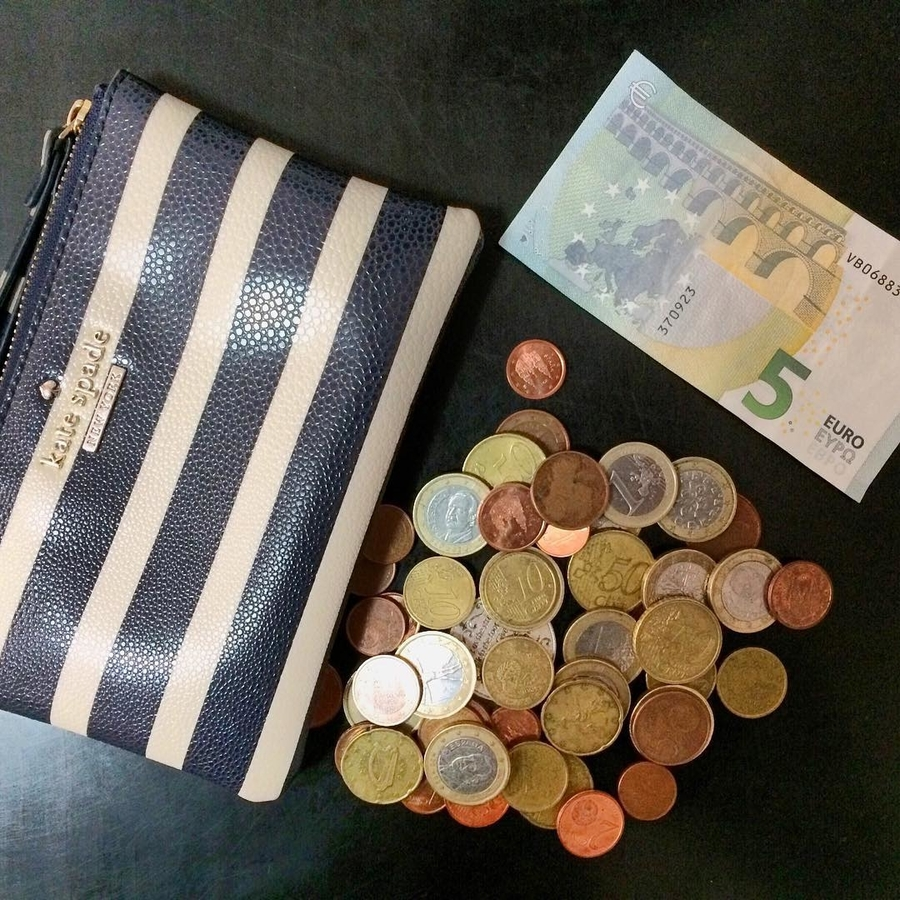 euro coins, bills and wallet