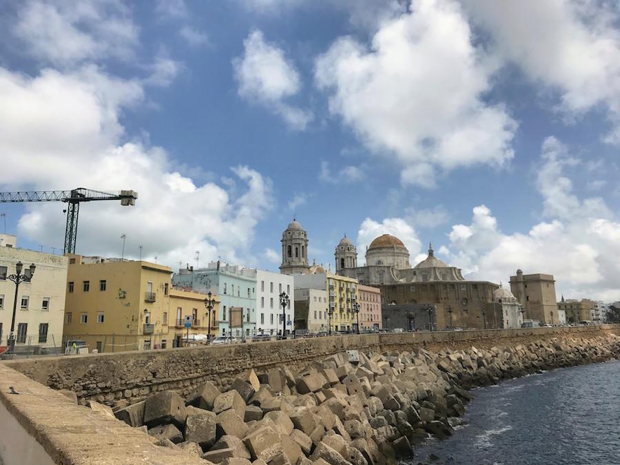 Buildings along the shore in Cádiz, Spain
