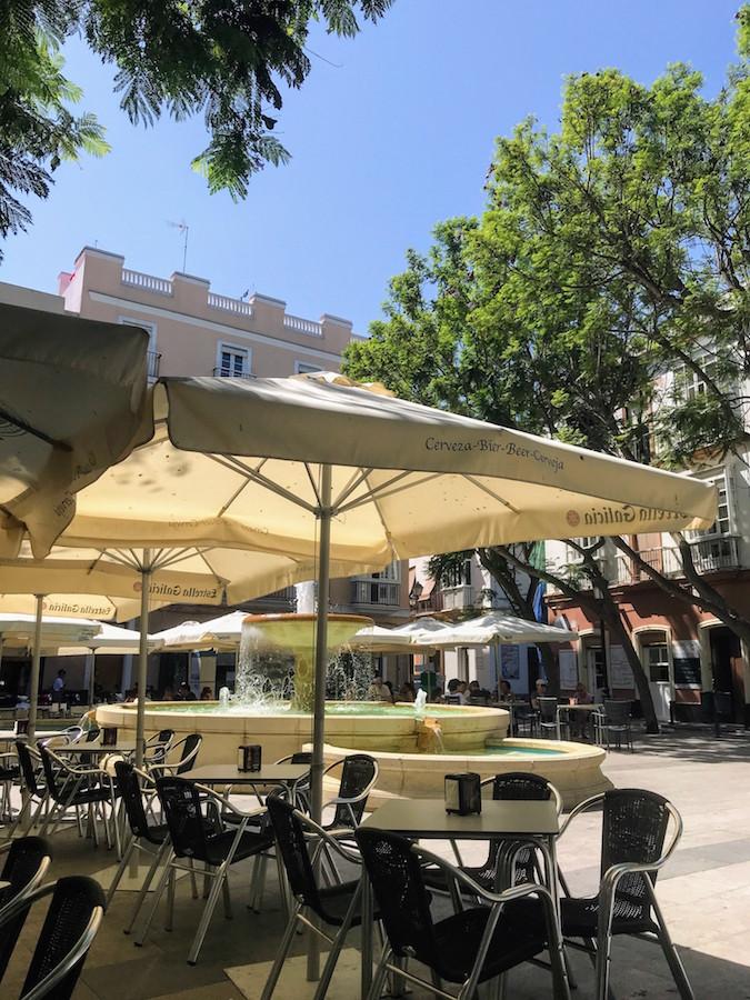 A terrace on Plaza Mentidero in Cádiz, Spain