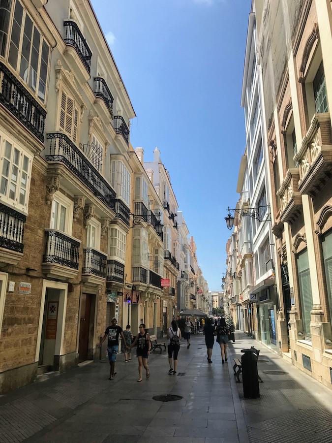 Exploring the city center on a day trip to Cádiz, Spain